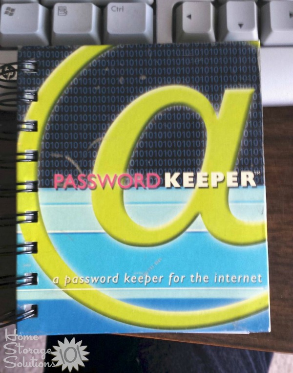 Password organizer book to keep track of your passwords {featured on Home Storage Solutions 101}
