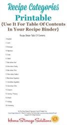 Suggested Recipe Categories
