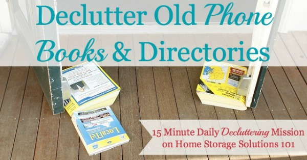 How to #declutter and recycle phone books and directories to get excess paper clutter out of your home {a #Declutter365 mission on Home Storage Solutions 101} #PaperClutter