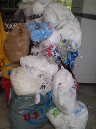 plastic bags ready to be recycled