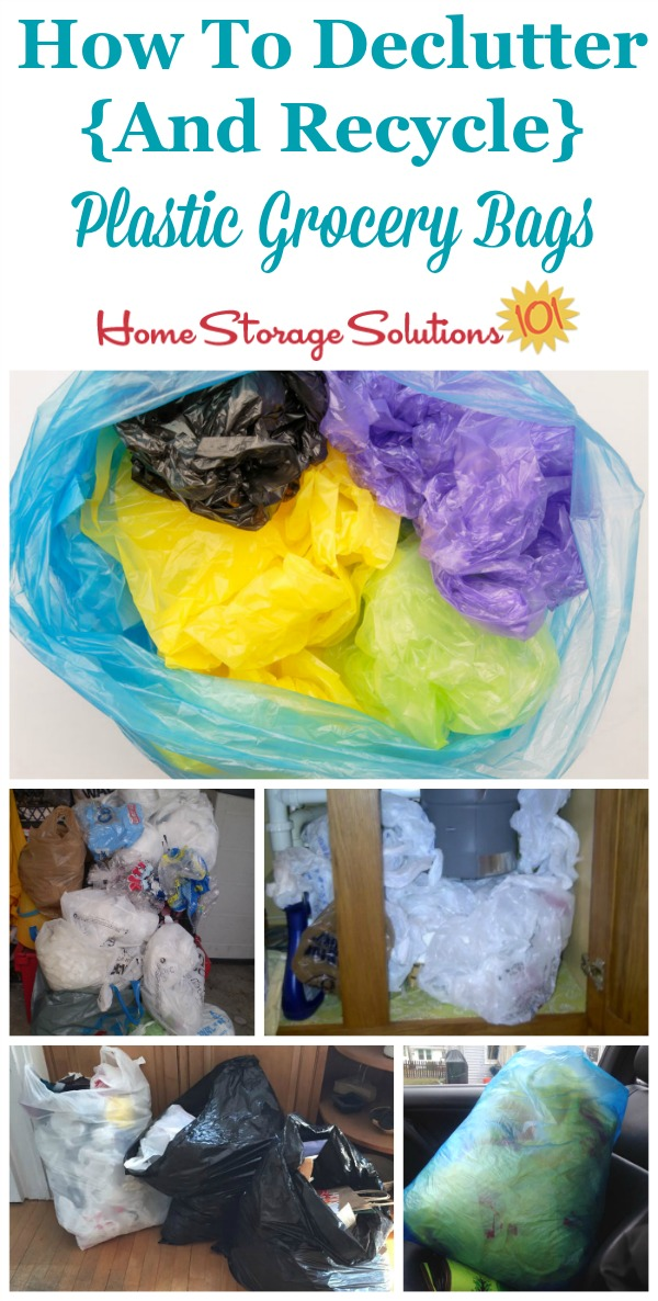 How to #declutter and #recycle plastic grocery bags, including pictures from readers who've already done this #Declutter365 mission {on Home Storage Solutions 101}
