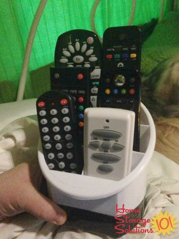 DIY remote control holder from desk organizer