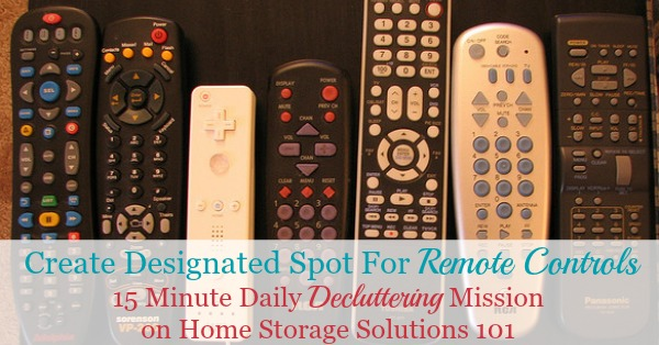 Create a designated spot for remote controls {part of the #Declutter365 missions on Home Storage Solutions 101}