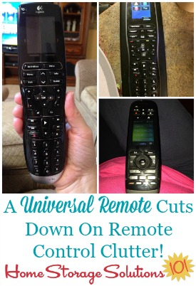 A universal remote cuts down on remote control clutter by reducing how many remotes you've got to keep track of {featured on Home Storage Solutions 101}