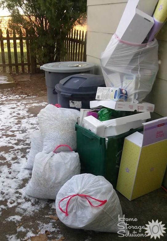 Lots of stuff that's been decluttered, including quite a few bags of shredded paper! {featured on Home Storage Solutions 101}