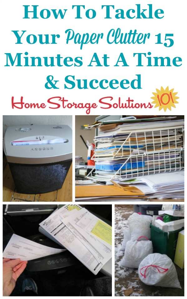 How to tackle your paper clutter 15 minutes at a time in the #Declutter365 missions so you can see real results {on Home Storage Solutions 101}