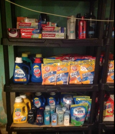 couponing stockpile organized on shelves