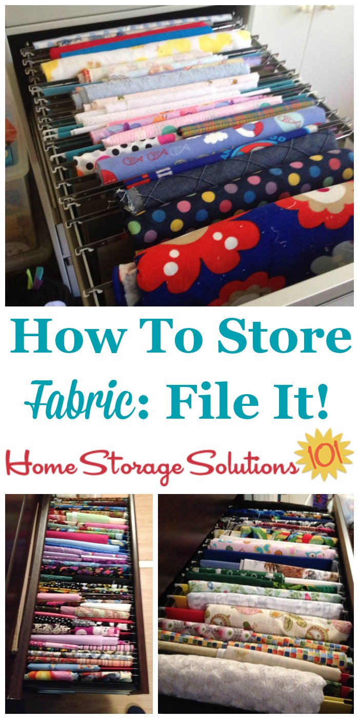 How to organize and store fabric by filing it in a file drawer {on Home Storage Solutions 101} #StorageSolutions #Fabric #HomeOrganization #FabricStorage