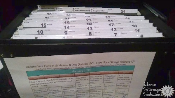 Tickler file plus #Declutter365 calendar equals organized paper in your home!