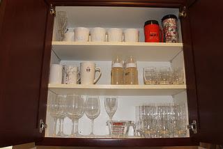 Organized glassware cabinet