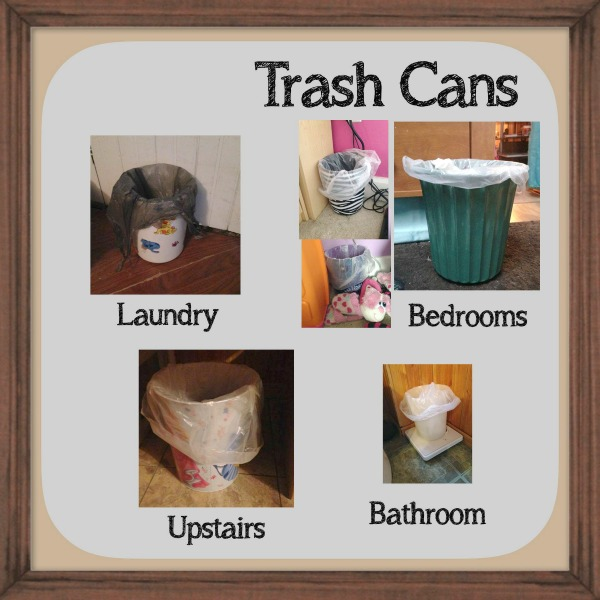 All the places that Brandy has placed small trash bins throughout her home as part of the #Declutter365 missions on Home Storage Solutions 101