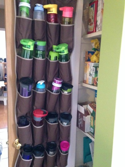 water bottle storage using an over the door shoe rack