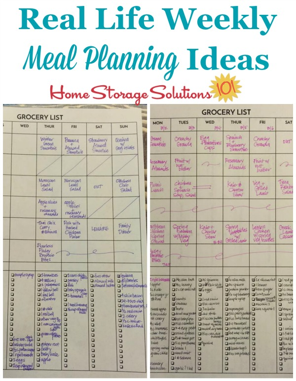 Real life ideas for weekly meal planning {featured on Home Storage Solutions 101}