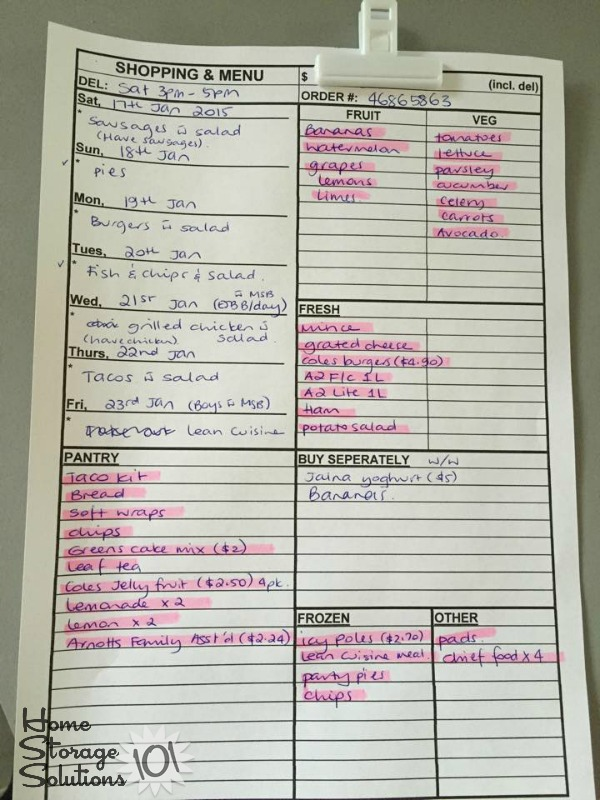 Meal planning worksheet for weekly menu planning {featured on Home Storage Solutions 101}
