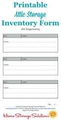 Printable Attic Storage Inventory Form