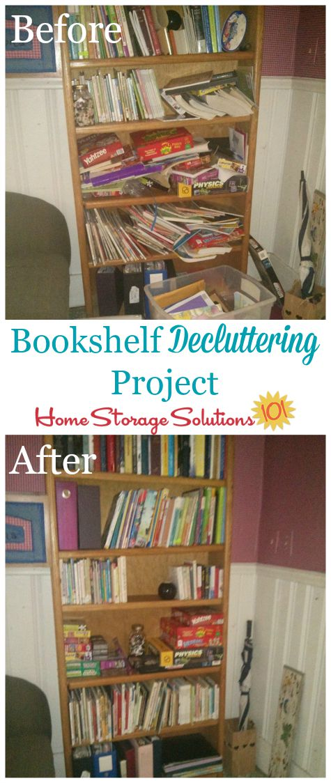Before and after of bookshelf #decluttering project, to get rid of book clutter and other types of items from your shelves and bookcases {featured on Home Storage Solutions 101} #ClutterControl #Declutter365