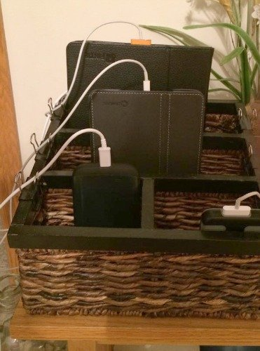 DIY charging station using mail sorter