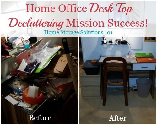 home office desk top decluttering mission success