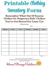 Printable Clothing Inventory