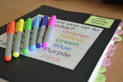 A colourful diary encourages the kids to use it