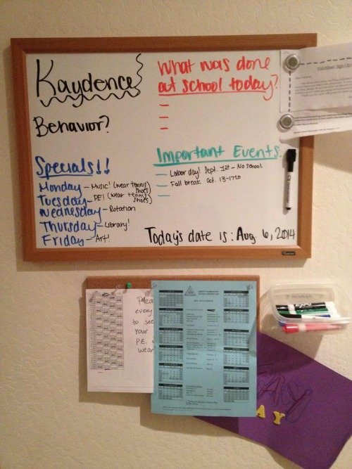School information wall {featured on Home Storage Solutions 101}