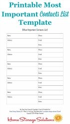 Important Contact List Template
