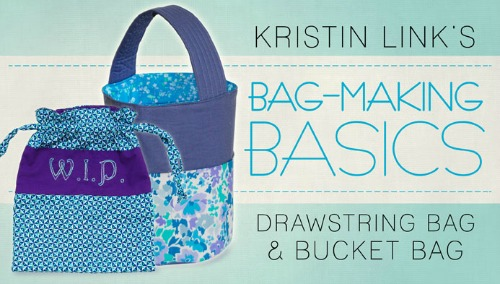 Craftsy free bag making basics class for making drawstring and bucket bags