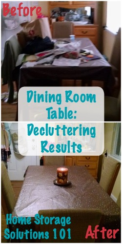 before and after of decluttered dining room table