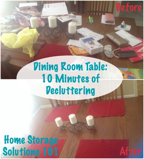 declutter dining room table in 10 minutes