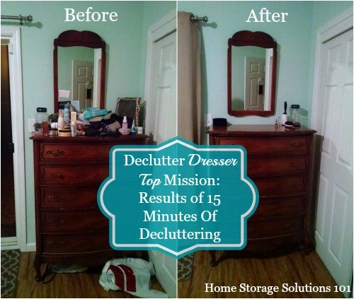 Amanda's before and after of her declutter dresser top mission
