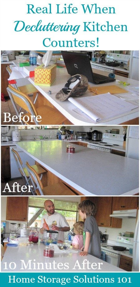 Real life when #decluttering kitchen counters, and how to create a 'daily reset' to keep them clear most of the time {on Home Storage Solutions 101} #Declutter365 #Declutter
