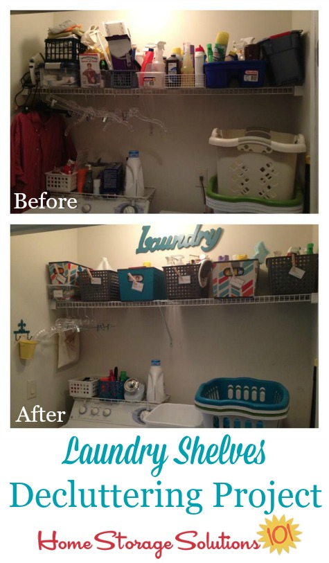 laundry shelves decluttering project, before and after