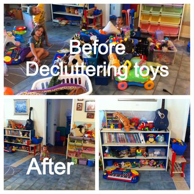 Before and after when decluttered playroom of old toys {on Home Storage Solutions 101}