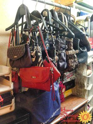 Although they make hanging closet organizers that you can purchase specifically for purses, as shown above, there is also the DIY method, which can just ...