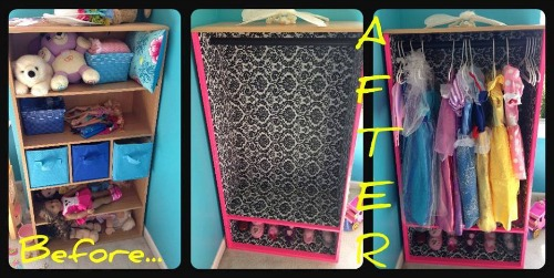 DIY dress up closet from old shelving unit