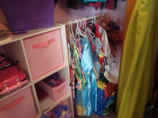 Dress Up Storage Using Tension Rod For Hanging Clothes In Or Out Of Closet