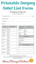 Printable Emergency Contact List Form