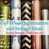 gift wrap organization and storage ideas
