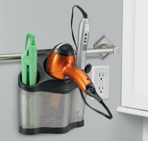 Polder Style Station, curling iron, flat iron and hair dryer caddy