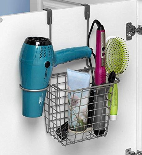 Spectrum over cabinet door hair tool storage basket