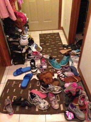 shoe explosion in hallway