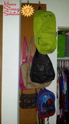 wall purse and backpack storage using hooks