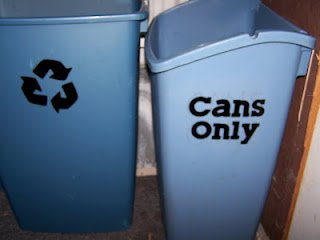 Labeled bins - close up