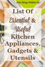 List of essential and useful kitchen appliances, gadgets and utensils