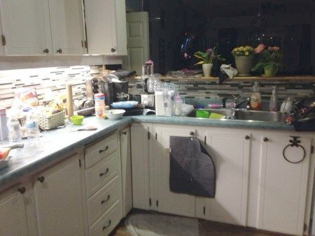 real life example of kitchen counter clutter
