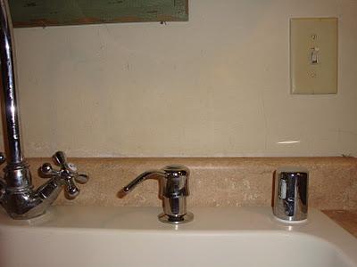 Soap dispenser installed