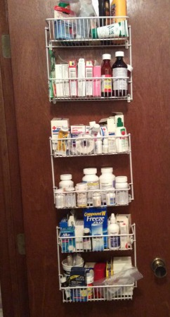 use a wire over the door organizer for medication organization