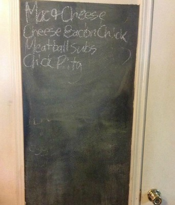 paint surface with chalkboard paint for displaying menu