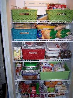 Organized freezer with baskets - view 1