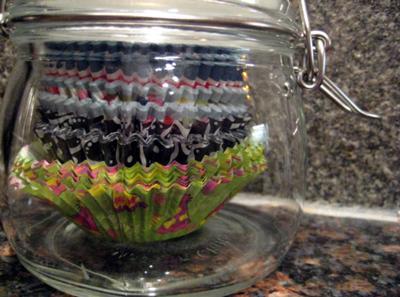 Storing cupcake liners in small jar